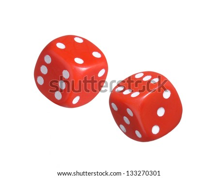 Red dices on white background.Throwing dices. - stock photo