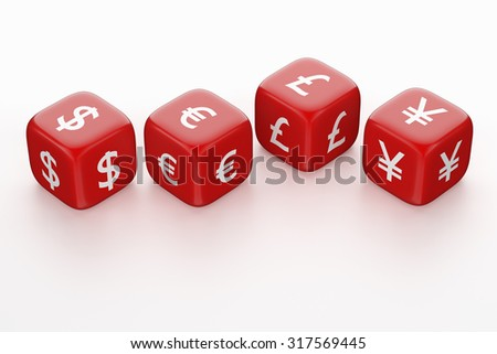 Red Dices with Currency Symbol. Dollar, Euro, Pound and Yen / Yuan - stock photo