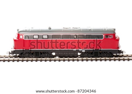 Red Diesel Locomotive isolated over white background - stock photo
