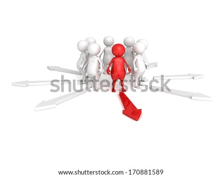 red different leader in crowd right red arrow direction - stock photo