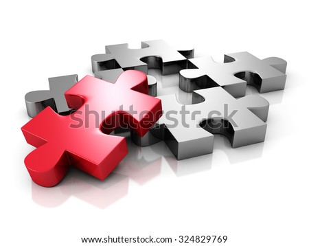 Red Different Metallic Jigsaw Puzzle Piece. 3d Render Illustration - stock photo