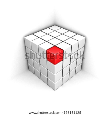 red different red cube out from white group structure. individuality concept 3d render illustration - stock photo