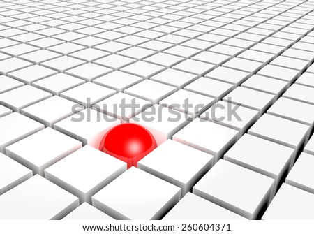 Red different sphere and white cubes - stock photo