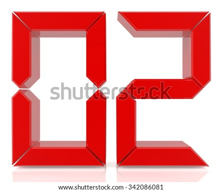 Red digital numbers 02 on white background 3d rendering - stock photo