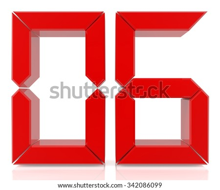 Red digital numbers 06 on white background 3d rendering - stock photo