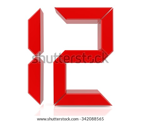 Red digital numbers 12 on white background 3d rendering - stock photo