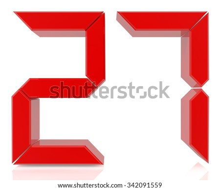 Red digital numbers 27 on white background 3d rendering - stock photo