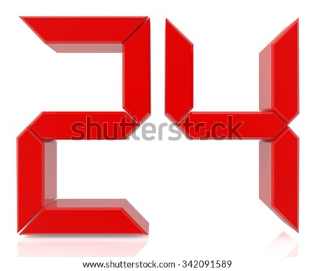 Red digital numbers 24 on white background 3d rendering - stock photo