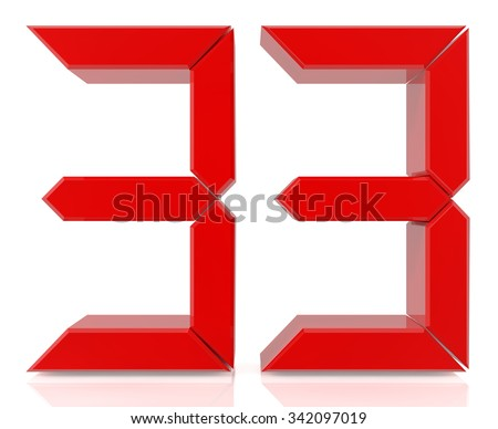 Red digital numbers 33 on white background 3d rendering - stock photo