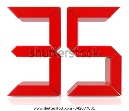 Red digital numbers 35 on white background 3d rendering - stock photo