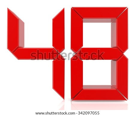 Red digital numbers 48 on white background 3d rendering - stock photo
