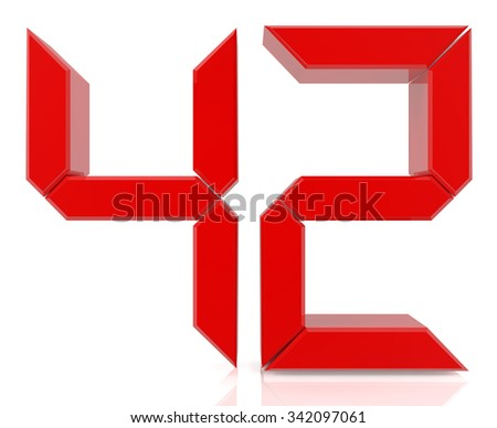 Red digital numbers 42 on white background 3d rendering - stock photo