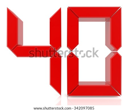 Red digital numbers 40 on white background 3d rendering - stock photo
