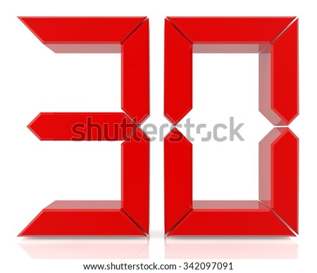Red digital numbers 30 on white background 3d rendering - stock photo