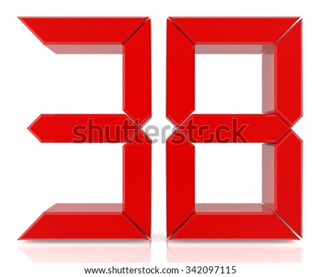 Red digital numbers 38 on white background 3d rendering - stock photo