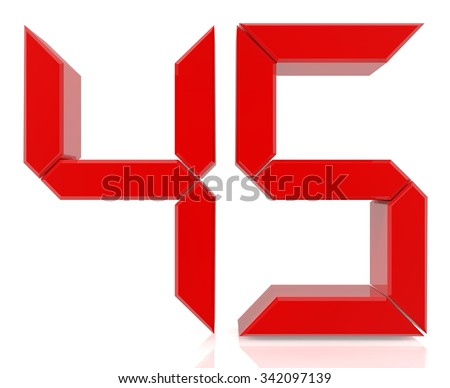 Red digital numbers 45 on white background 3d rendering - stock photo