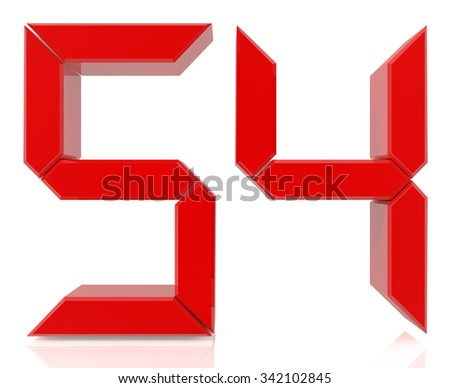 Red digital numbers 54 on white background 3d rendering - stock photo