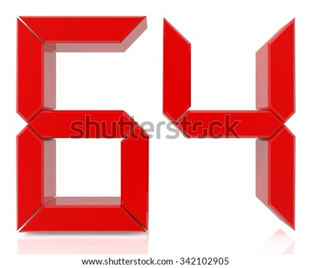 Red digital numbers 64 on white background 3d rendering - stock photo