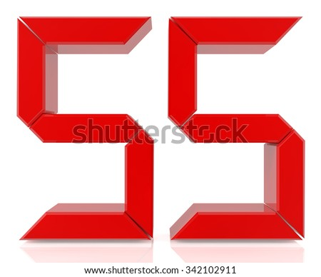 Red digital numbers 55 on white background 3d rendering - stock photo