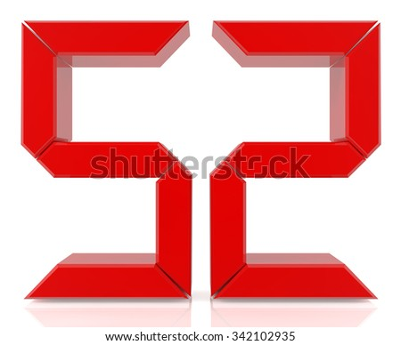 Red digital numbers 52 on white background 3d rendering - stock photo