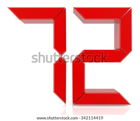 Red digital numbers 72 on white background 3d rendering - stock photo