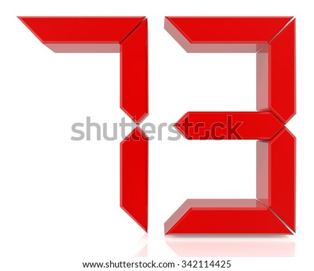 Red digital numbers 73 on white background 3d rendering - stock photo