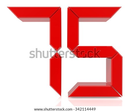 Red digital numbers 75 on white background 3d rendering - stock photo