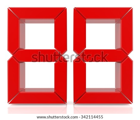 Red digital numbers 88 on white background 3d rendering - stock photo