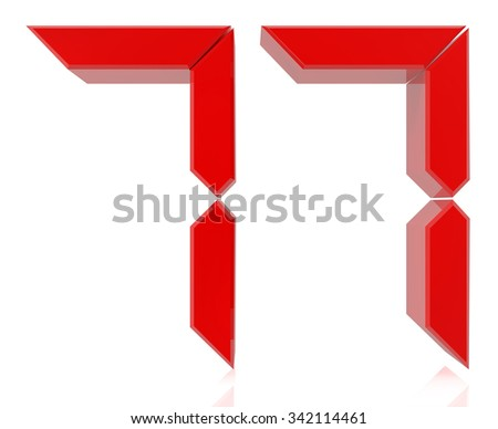 Red digital numbers 77 on white background 3d rendering - stock photo