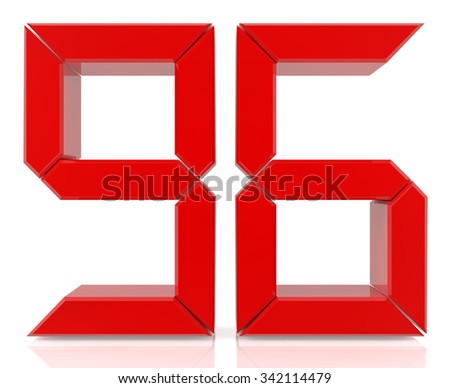 Red digital numbers 96 on white background 3d rendering - stock photo