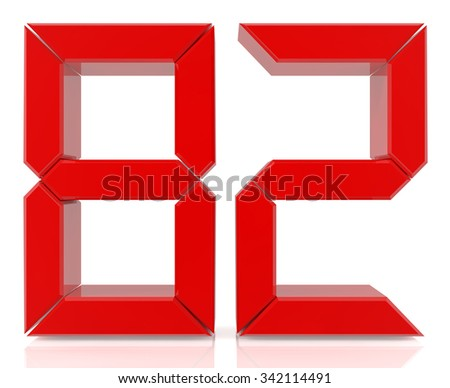 Red digital numbers 82 on white background 3d rendering - stock photo