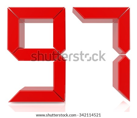 Red digital numbers 97on white background 3d rendering - stock photo