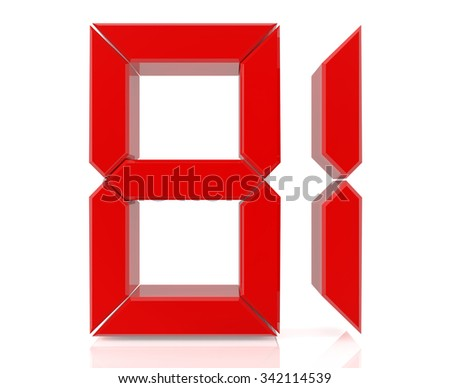 Red digital numbers 81 on white background 3d rendering - stock photo