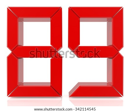 Red digital numbers 89 on white background 3d rendering - stock photo