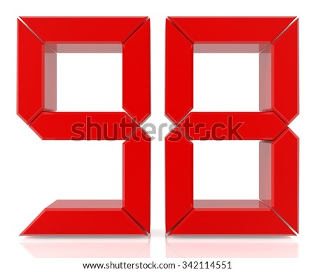 Red digital numbers 98 on white background 3d rendering - stock photo