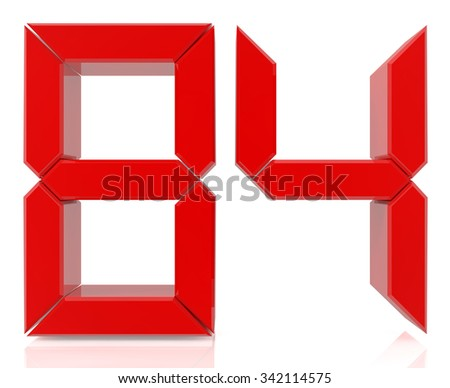 Red digital numbers 84 on white background 3d rendering - stock photo
