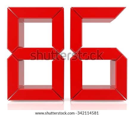 Red digital numbers 86 on white background 3d rendering - stock photo