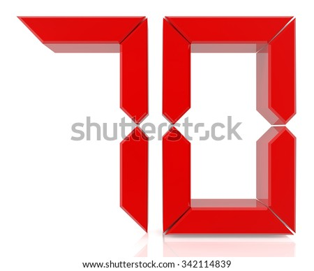Red digital numbers 70 on white background 3d rendering - stock photo