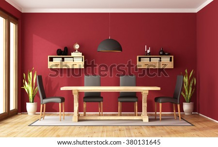 Red dining room with rustic table and modern chair - 3D Rendering - stock photo