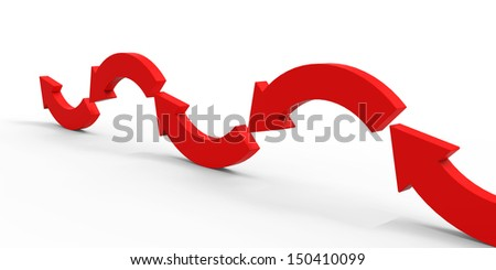 Red direction arrow on the white background