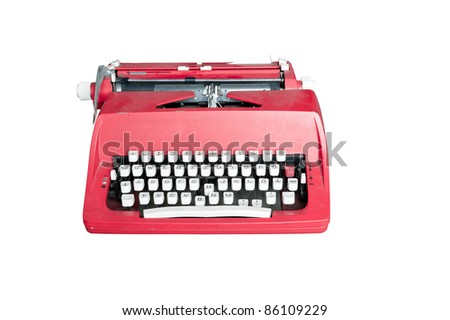 Red dirty Retro typewriter isolated  on white - stock photo
