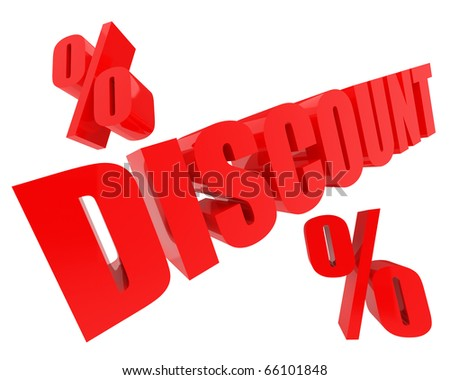 red DISCOUNT 3d-text with percents nearby isolated on white background - stock photo