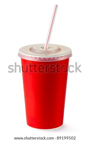 Red disposable cup for beverages with straw. Isolated on a white. - stock photo