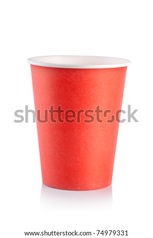 Red disposable cup isolated on a white background