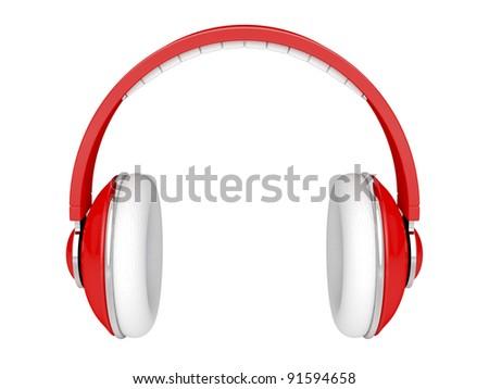 Red DJ headphones isolated on white - stock photo