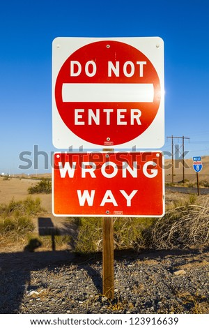 red do not enter Sign at the highway with blue sky - stock photo