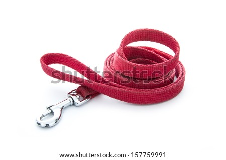 red dog leash isolated on white background - stock photo