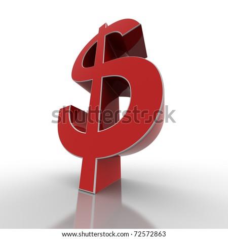 red dollar - stock photo