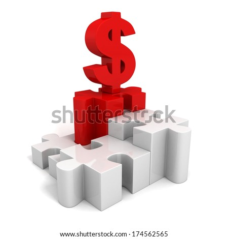 red dollar currency symbol on jigsaw puzzle pie chart - stock photo