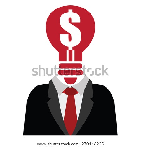 Red Dollar Sign Light Bulb Head Businessman Isolated on White Background - stock photo